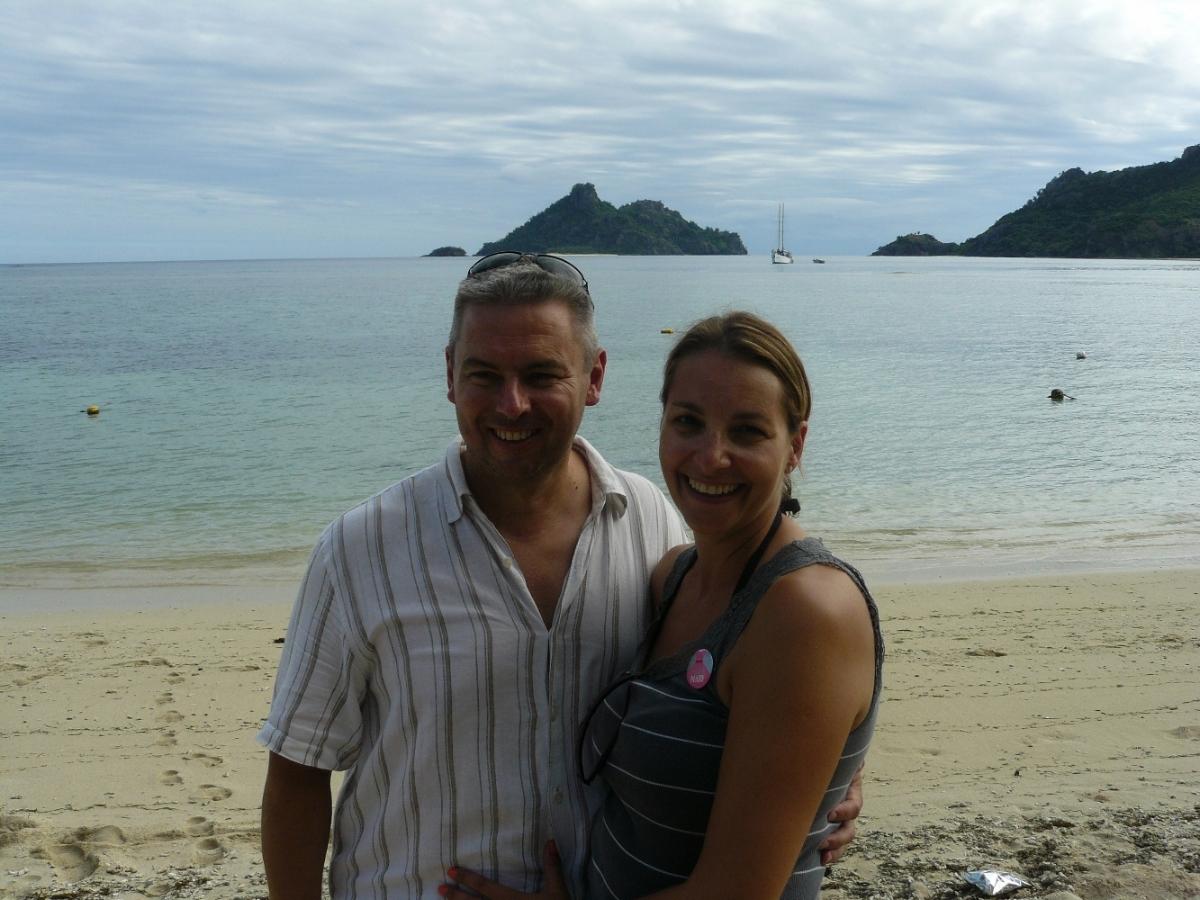 Us on Yanuya Village beach with Monuriki in the background